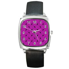 Unicorn Pattern Pink Square Metal Watch