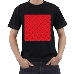 Unicorn Pattern Red Men s T Shirt (black) (two Sided)