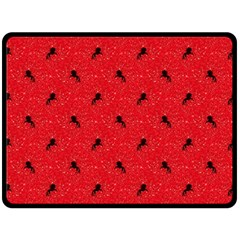 Unicorn Pattern Red Fleece Blanket (large)