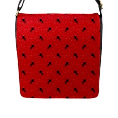Unicorn Pattern Red Flap Messenger Bag (l)