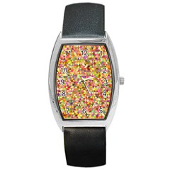 Multicolored Mixcolor Geometric Pattern Barrel Style Metal Watch
