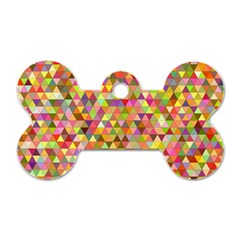 Multicolored Mixcolor Geometric Pattern Dog Tag Bone (two Sides)