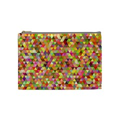 Multicolored Mixcolor Geometric Pattern Cosmetic Bag (medium)