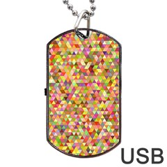 Multicolored Mixcolor Geometric Pattern Dog Tag Usb Flash (one Side)