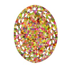 Multicolored Mixcolor Geometric Pattern Oval Filigree Ornament (two Sides)