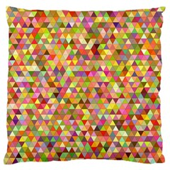 Multicolored Mixcolor Geometric Pattern Large Flano Cushion Case (one Side)