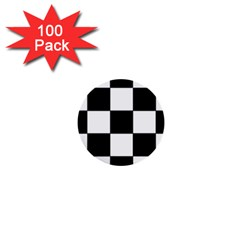 Grid Domino Bank And Black 1  Mini Buttons (100 Pack)