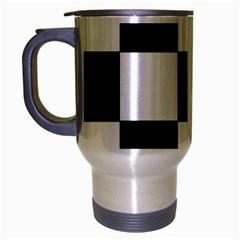 Grid Domino Bank And Black Travel Mug (silver Gray)