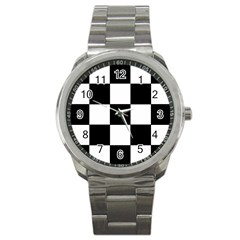 Grid Domino Bank And Black Sport Metal Watch