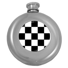 Grid Domino Bank And Black Round Hip Flask (5 Oz)