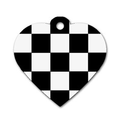 Grid Domino Bank And Black Dog Tag Heart (two Sides)