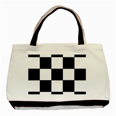 Grid Domino Bank And Black Basic Tote Bag (two Sides)