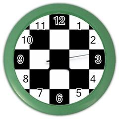 Grid Domino Bank And Black Color Wall Clocks