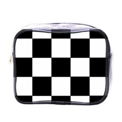 Grid Domino Bank And Black Mini Toiletries Bags