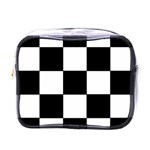 Grid Domino Bank And Black Mini Toiletries Bags Front