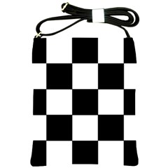 Grid Domino Bank And Black Shoulder Sling Bags