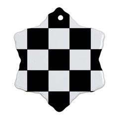 Grid Domino Bank And Black Snowflake Ornament (two Sides)