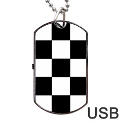 Grid Domino Bank And Black Dog Tag Usb Flash (one Side)