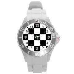 Grid Domino Bank And Black Round Plastic Sport Watch (l)