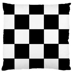 Grid Domino Bank And Black Large Cushion Case (one Side)