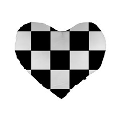 Grid Domino Bank And Black Standard 16  Premium Heart Shape Cushions