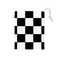 Grid Domino Bank And Black Drawstring Pouches (medium)