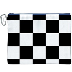 Grid Domino Bank And Black Canvas Cosmetic Bag (xxxl)
