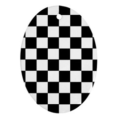 Grid Domino Bank And Black Ornament (oval)