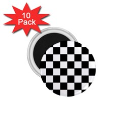 Grid Domino Bank And Black 1 75  Magnets (10 Pack)