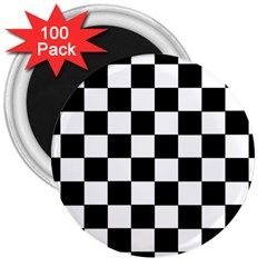 Grid Domino Bank And Black 3  Magnets (100 Pack)
