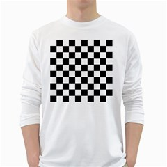 Grid Domino Bank And Black White Long Sleeve T Shirts