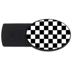 Grid Domino Bank And Black Usb Flash Drive Oval (4 Gb)