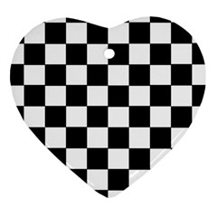 Grid Domino Bank And Black Heart Ornament (two Sides)