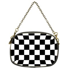 Grid Domino Bank And Black Chain Purses (one Side)