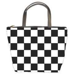 Grid Domino Bank And Black Bucket Bags