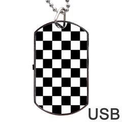 Grid Domino Bank And Black Dog Tag Usb Flash (two Sides)