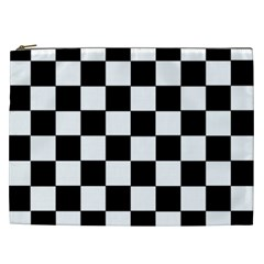 Grid Domino Bank And Black Cosmetic Bag (xxl)