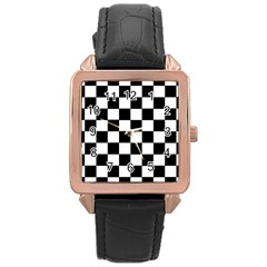 Grid Domino Bank And Black Rose Gold Leather Watch
