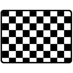 Grid Domino Bank And Black Double Sided Fleece Blanket (large)