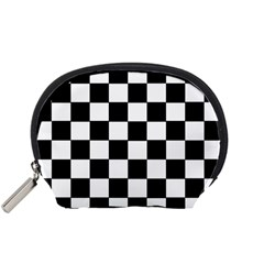 Grid Domino Bank And Black Accessory Pouches (small)