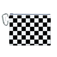 Grid Domino Bank And Black Canvas Cosmetic Bag (l)