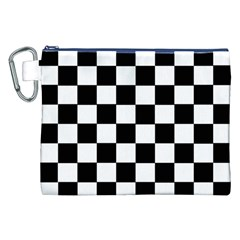 Grid Domino Bank And Black Canvas Cosmetic Bag (xxl)