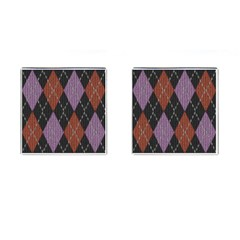 Knit Geometric Plaid Fabric Pattern Cufflinks (square)