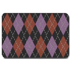 Knit Geometric Plaid Fabric Pattern Large Doormat