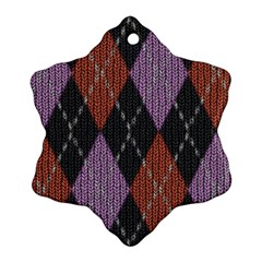 Knit Geometric Plaid Fabric Pattern Snowflake Ornament (two Sides)