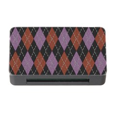 Knit Geometric Plaid Fabric Pattern Memory Card Reader With Cf