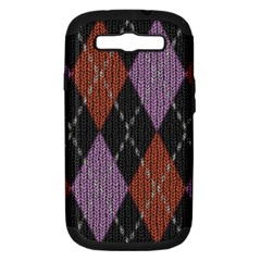 Knit Geometric Plaid Fabric Pattern Samsung Galaxy S Iii Hardshell Case (pc+silicone)