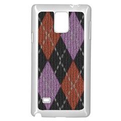 Knit Geometric Plaid Fabric Pattern Samsung Galaxy Note 4 Case (white)