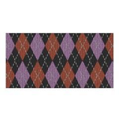 Knit Geometric Plaid Fabric Pattern Satin Shawl
