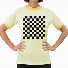 Grid Domino Bank And Black Women s Fitted Ringer T Shirts